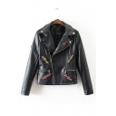 New Chic Snake Embroidered Back Oblique Zipper Leather Jacket