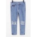 Fashion Cut Out Knee High Waist Loose Jeans