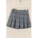 Fall New Plaid Elastic Waist Pleated Mini Skirt