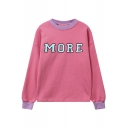 Loose MORE Letter Print Contrast Trim Elastic Cuffs Long Sleeve Pullover Sweatshirt