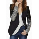 Women's Fashion Sequin Detail Long Sleeve Single Button Blazer