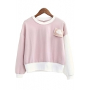 Cute Cloud Patchwork Color Block Long Sleeve Round Neck Sweatshirt