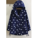 Cute Cloud Pint Zip Up Long Sleeve Hooded Coat with Pockets