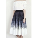 Elastic Waist Circle/Wave Color Block Midi Skater Skirt