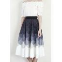 Elastic Waist Circle/Wave Color Block Midi Skater Skirt