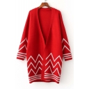 Fashion Wave Striped Trim Cocoon Long Sleeve Cardigan