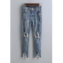 Fashion Destroyed Skinny Jean Open Knee Jean