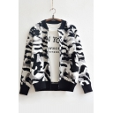 New Arrival Fashion Camo Pattern Contrast Trim Long Sleeve Sweater Top