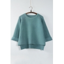 New Arrival Fashion Dip Hem Round Neck Long Sleeve Cropped Knitted Top