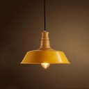 Retro Loft Style Industrial 1 Light Indoor Pendant with Wood Accent in Yellow Finish