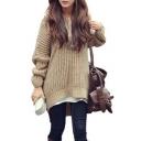 Fall Winter Stylish Dip Hem Long Sleeve Hooded Sweater