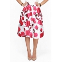 New Arrival Red Rose Print High Waist A-line Midi Skirt