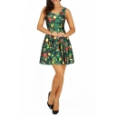 Hot Christmas Tree Digital Printed Reversible Sleeveless Short Dress