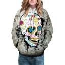 Unisex Long Sleeve Halloween Skull Floral Print Hoodie