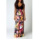 Women's Sexy Deep V-neck Sleeveless High Waist Floral Maxi Dress