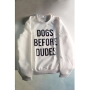 DOGS BEFORE DUDES Letter Print Raglan Sleeve Pullover Sweatshirt