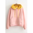 Popular Color Block Drawstring Hooded Sweatshirt with Kangaroo Pocket