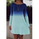 Casual Round Neck Long Sleeve High Waist Ombre Print A-Line Dress