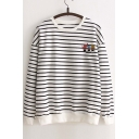 New Stylish Striped Embroidery Cactus Round Neck Long Sleeve Pullover Sweatshirt
