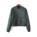 Fall Winter Zipper Placket Stand-Up Collar Long Sleeve Baseball Jacket
