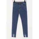 Stylish Distressed Detail Mid Waist Skinny Jeans