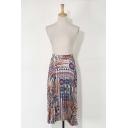 Tribal Print Elastic Waist Asymmetric Hem Pleated Skirt
