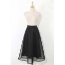 Elastic High Waist Cutout Mesh Maxi A-Line Skirt