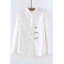 Lapel Embroidery Letter Pattern Single Breasted Long Sleeve Shirt