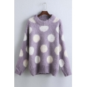 Loose Color Block Polka Dots Batwing Long Sleeve Round Neck Sweater