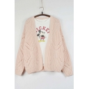 Fashion Hollow Out Detail Open-Front Long Sleeve Cardigan