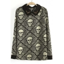 Autumn Fashion Floral Skull Printed Rivet Collar Long Sleeve Blouse Top