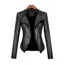 Women's Fahion Motorcycle Jacket in Black