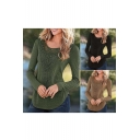 Women's Chic Lace Insert Round Hem Long Sleeve T-shirt