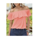 2016 Fashion Sexy Off the Shoulder Flounce Blouse Top