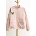 Cute Dog Embroidered Long Sleeve Jacket with Big Pockets