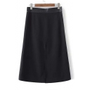 Leather Panel High Waist Split-Front A-Line Skirt