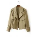 Fashion Notched Lapel Open-Front Long Sleeve Jacket