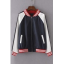 Stand-Up Collar Long Sleeve Zipper Front Color Block Bomber Jacket