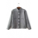 Trendy Stand-Up Collar Single Breasted Seamed Detail Coat