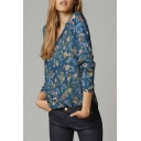 Relaxed V Neck Long Sleeve Floral Print Dip Trim Button Down