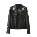 Studded Single Breasted Lapel Embroidery Floral Butterfly Print Leather Coat
