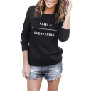 FAMILY EVERYTHING Print Round Neck Long Sleeve Pullover Sweatshirt