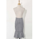 Color Block Houndstooth Print Ruffle Hem Midi Flared Skirt