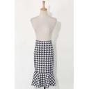 Color Block Houndstooth Print Ruffle Hem Midi Flared Skirt