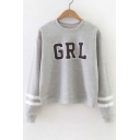 Trendy Striped Long Sleeve Letter Print Round Neck Pullover Sweatshirt