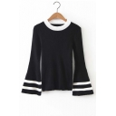 Fashion Contrast Neck Striped Cuffs Bell Long Sleeve Plain Sweater