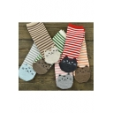Women's Cute Cartoon Cat Pattern Striped Socks