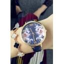 Hot Vintage Style Floral Leather Strap Quart Wristwatch
