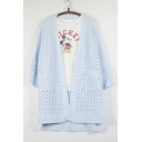 Women's Fashion Open Knit Open-Front 3/4 Sleeve Cardigan