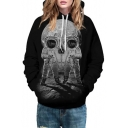 2016 New Fashion Unisex Astronaut Skull Design Long Sleeve Hooded Sweatshirt